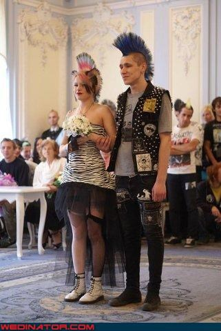 Crazy Brides crazy groom Doc Martens dye job fashion is my passion Manic Panic mohawk punk vegan were-in-love Wedding Themes - 3233225472