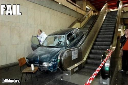 bad idea,car,driving,failboat,indoors,stairs