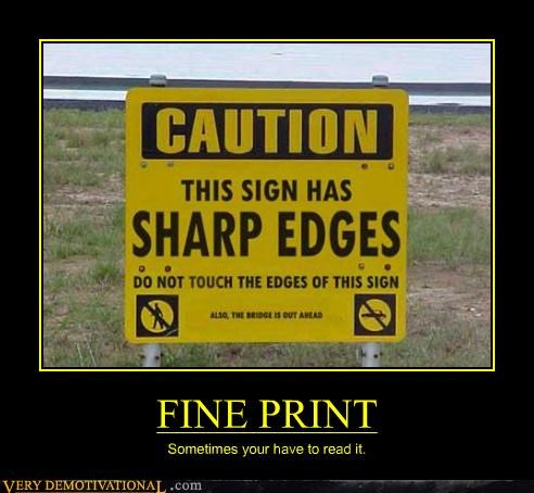 sign,caution,fine print
