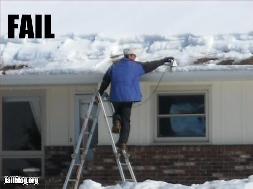 Ice removal Fail A man trying to de-ice his roof with an iron