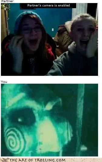 Chat Roulette,girls,masks,scared,scary