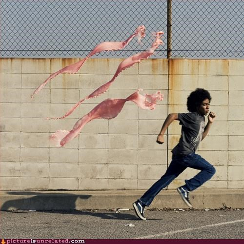 pink things running wtf - 3236870144