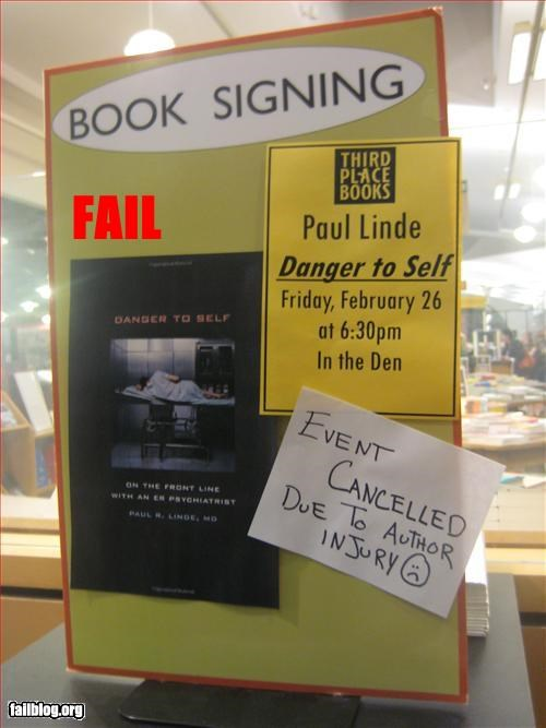 book,danger,failboat,g rated,injury,signing,to self