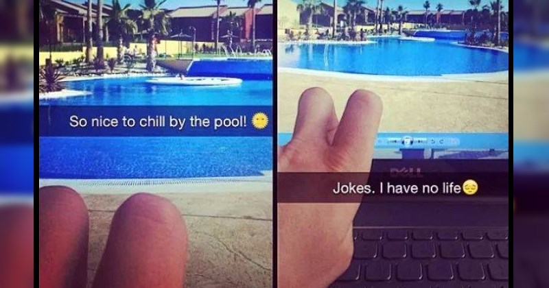 guy pretends his fingers are legs to fake that he's on vacation - Dumb Snapchat FAILs