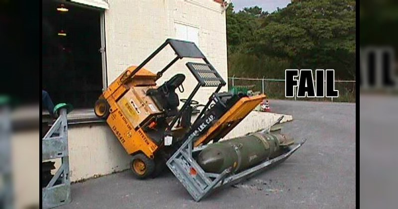 Forklift gets driven off the side of a loading bay - Classic Funny FAILs That Will Baffle You