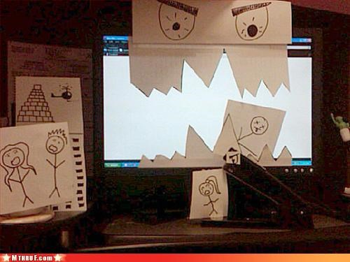 art awesome boredom creativity in the workplace cubicle boredom cute paper signs papercraft sculpture work smarter not harder - 3241884416
