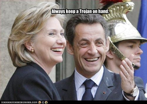 condoms france helmet Hillary Clinton Nicolas Sarkozy president secretary of state - 3242126336