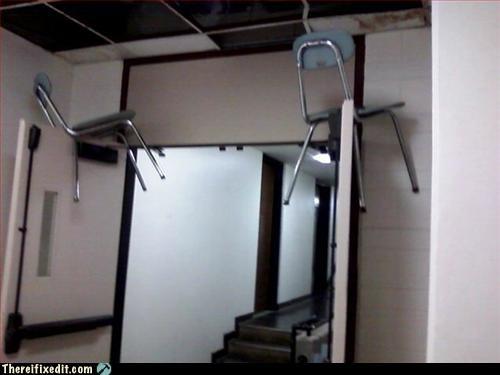 chair double doors propped open school - 3245281024