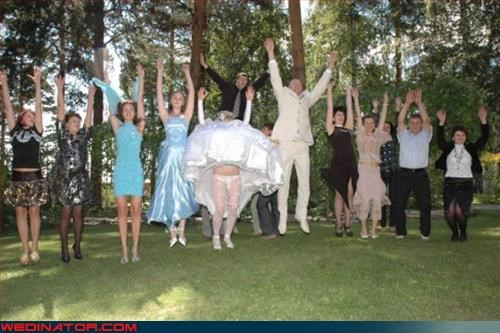 Crazy Brides fashion is my passion groom group photo jumping for joy miscellaneous-oops Star Search surprise tacky technical difficulties ugly dress upskirt wedding party