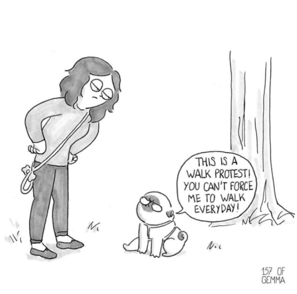 Webcomic about a pug and not wanting to take those walks