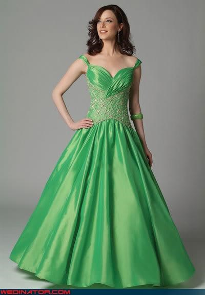 bride fashion is my passion green brides green wedding dress kermit the frog St Patrick's Day tacky Wedding Themes