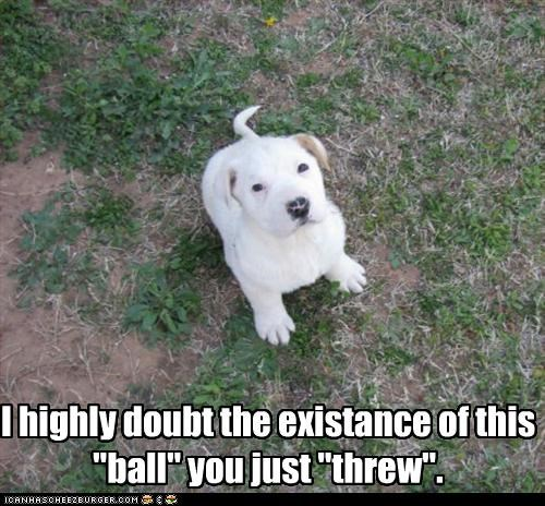 "I highly doubt the existance of this ""ball"" you just ""threw""."