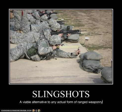 SLINGSHOTS A viable alternative to any actual form of ranged weaponry