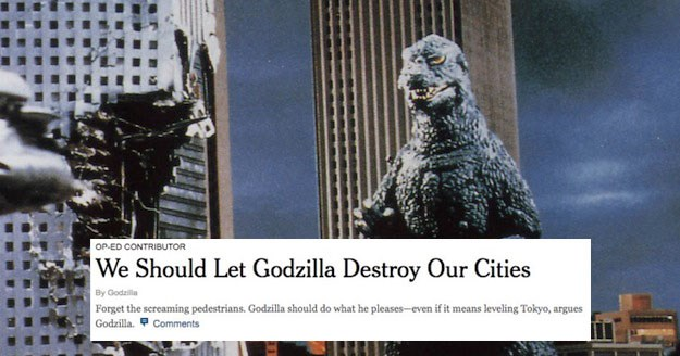 Collection of funny New York Times op-ed parodies featuring Godzilla, the simpsons, the matrix, bart simpson, nintendo, distracted boyfriend, game of thrones.