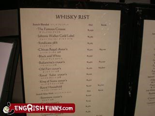 g rated,list,menu,whiskey