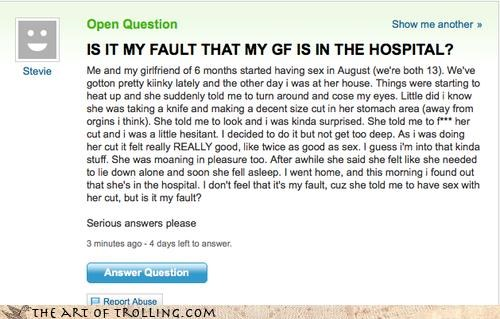 all your fault,Blood,getting it on,gone wrong,Hall of Fame,sexy times,wounds,Yahoo Answer Fails