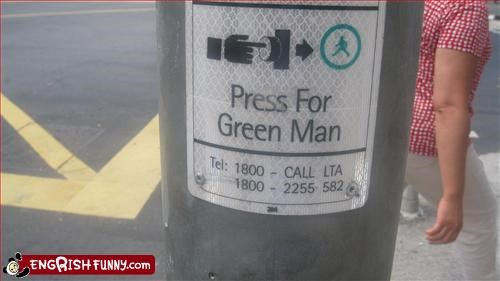 button,g rated,green,man,press