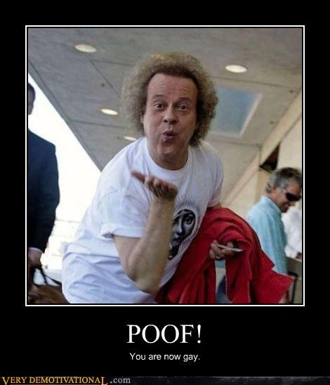 demotivational,gay jokes,hilarious,magic,Mean People,poof,richard simmons