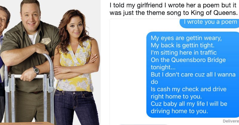 Guy texts girlfriend King of Queens lyrics and the internet steps in to help him out on Twitter.