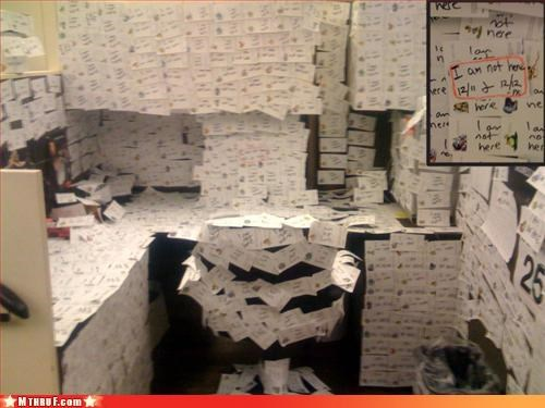 annihilation awesome co-workers not boredom cubicle boredom cubicle prank cubicle rage dickhead co-workers dickheads hate mess out of office paper signs prank pwned rage sass screw you signage wasteful wiseass - 3253555456