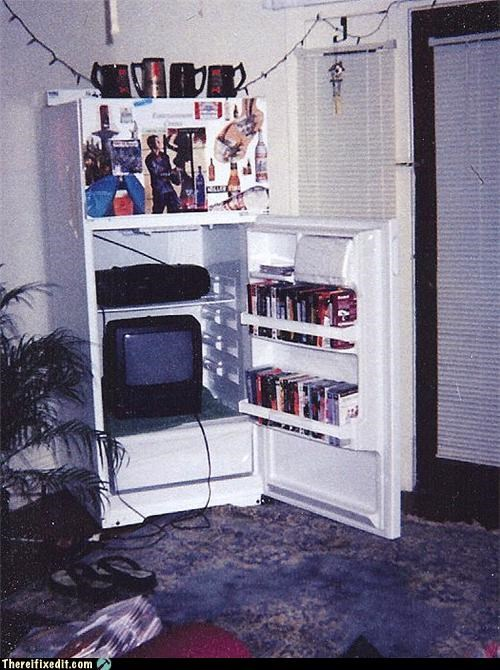 entertainement center,freezer,television,VHS