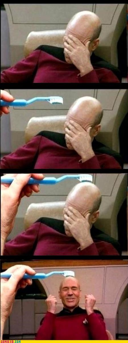 lol,picard,Star Trek,toothbrush