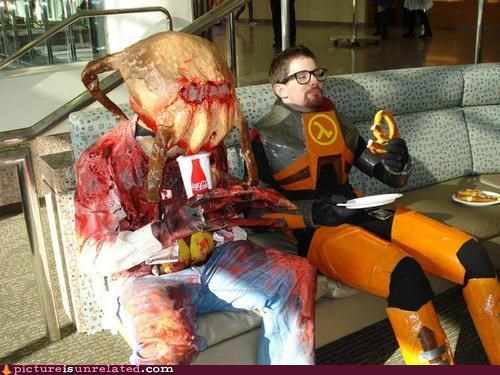 gordon freeman,half life,headcrab,junk food,wtf,zombie