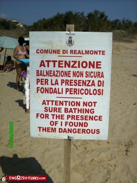 attention,bathing,beach,dangerous,g rated,Italy,signs