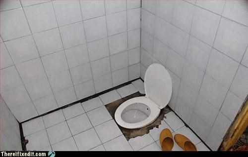 bathroom hole in the floor Mission Improbable toilet uncomfortable - 3267482112