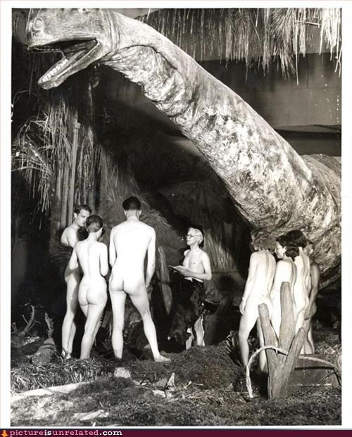 ceremony dinosaur nudity vintage wedding wtf - 3271612928