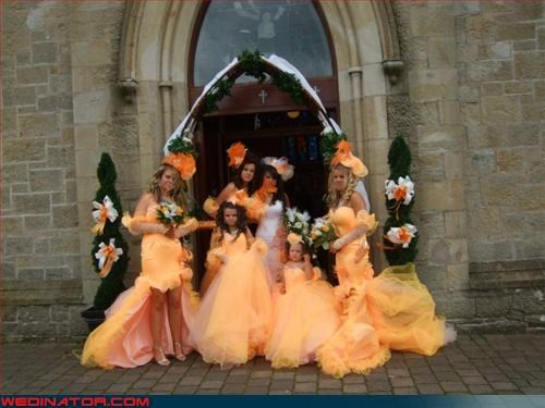 bride,bridesmaids,fashion is my passion,hi-liter,Sunny Delight,tacky,ugly dress,wedding party,Wedding Themes