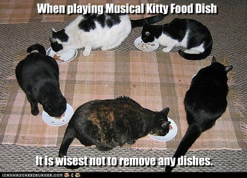 When playing Musical Kitty Food Dish It is wisest not to remove any dishes.