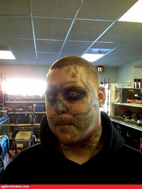face tats,trompe-loeil,ZOMBIE WEEK,zombie