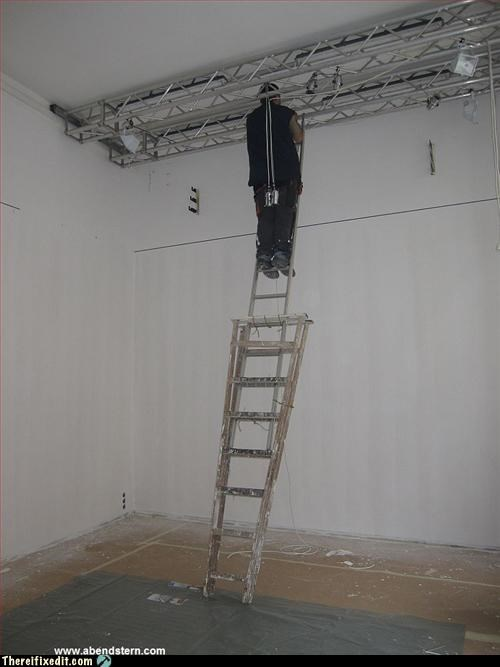 bad idea,balance,ladder,reach for it