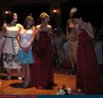 bouquet toss bride bridesmaids dont-wanna-get-married fashion is my passion miscellaneous-oops single ladies surprise technical difficulties wedding party woops - 3276695296