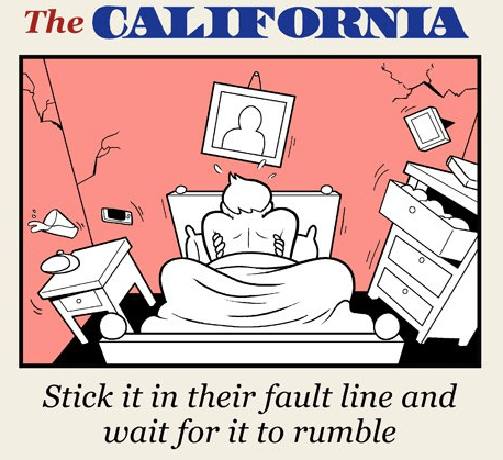 List of sex moves, one for every state - cover cartoon for California, stick it in the fault line and wait for it to rumble.