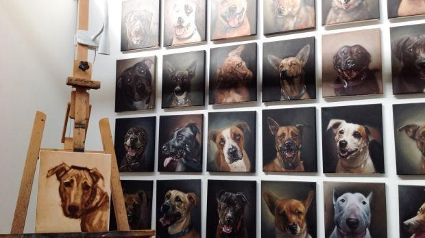 artist paints shelter dogs for adoption