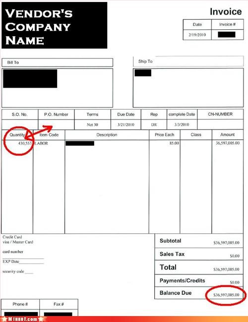 busted clever creativity in the workplace cubicle fail epic epic fail FAIL invoice Sad total bollocks typo wasteful - 3279463680