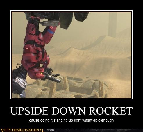 epic halo Pure Awesome red rocket launcher upside down