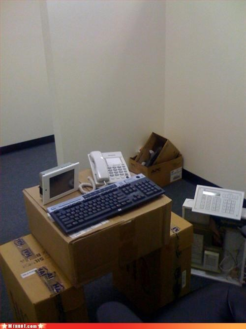 awesome co-workers not bad desk cardboard boxes cubicle fail cubicle prank cubicle rage dickhead co-workers ergonomics intern lazy mess new guy osha passive aggressive pwned Sad sass screw you short straw work smarter not harder - 3282912512