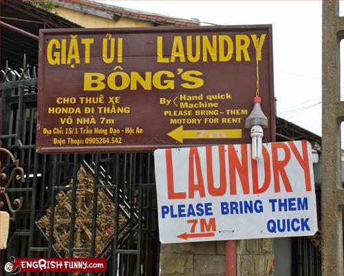 bong business laundry sign
