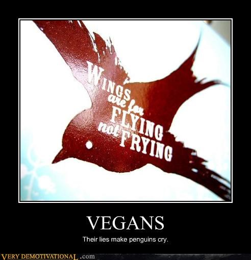 bbq demotivational hilarious idiots penguins vegans wings - 3283165184