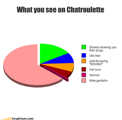 chatroulette,drugs,frat boys,genitalia,ladyfunbags,male,men,old,Pie Chart,stpners,women
