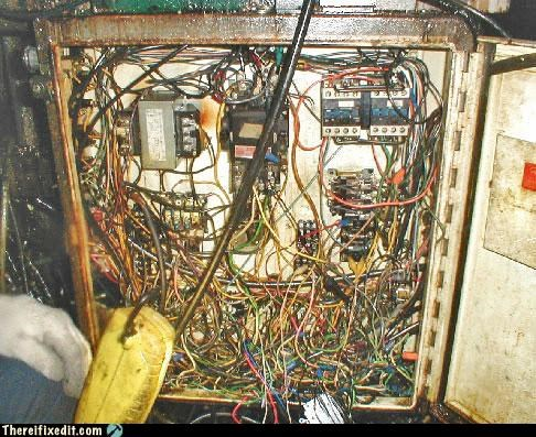 electrical hazard,fire hazard,rats-nest,rust,unsafe