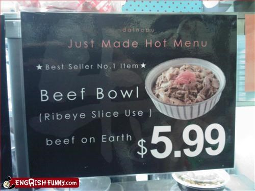 Beef bowl earth g rated hot menu