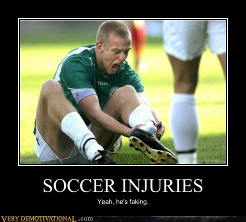 SOCCER INJURIES Yeah, he's faking.