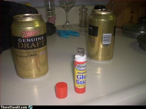 beer,flash drive,glue stick,Mission Improbable