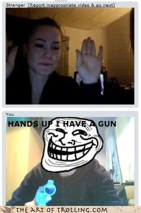 Chat Roulette girls gun hands up - 3288644608