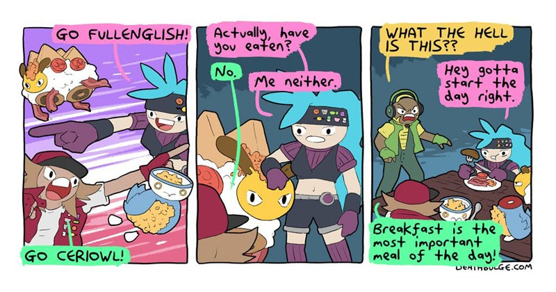 Collection of Deathbulge Comics' take on Pokemon, Bulgemon Tournament.