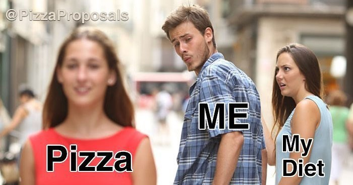 Collection of funny memes about cheese pizza in celebration of international cheese pizza day.